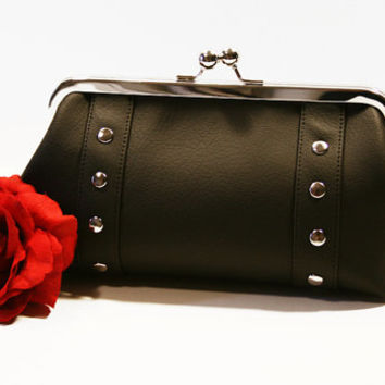 Black Vinyl Clutch, Faux Leather Vinyl, Kisslock Bag, Retro Clutch, Rockabilly Bag - MADE TO ORDER