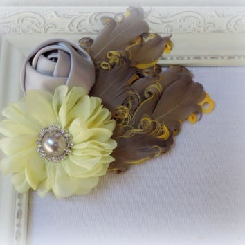 Hair clip headband, goth  feather Boudoir headband, grey silver yellow fascinator, steampunk hair accessories,Cottage chic accessories,