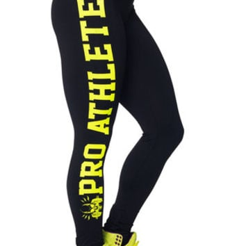 Legging Black Yellow Pro Athlete