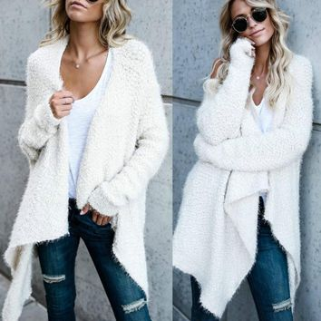 hirigin Autumn Winter Women Cardigan Knitted Sweater Long Sleeve Crochet Female Casual Long Sweater 3 Collor
