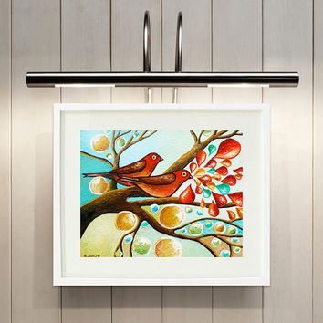 Love Birds Giclee Print, Whimsical Bird Animal Art, Couples Art, Wedding Anniversary Gift 8x10 Signed