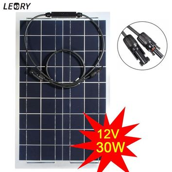 LEORY 30W 12V Semi-flexible Solar Panel Monocrystalline Solar Battery Cells DIY Power System Kit For Boat Camping +1m MC4 Cable