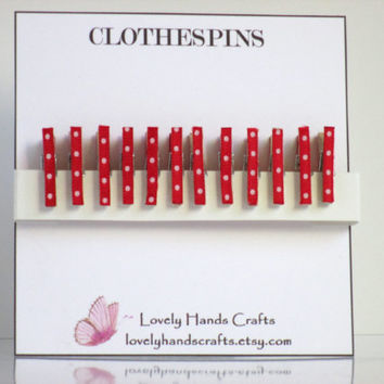 Tiny Clothespins, Red and White Polka Dots, Set of 12