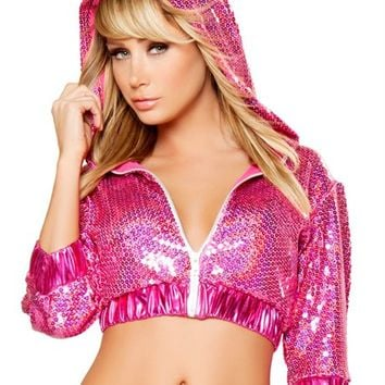 Metallic Pink Sequin Cropped Jacket : Cute Rave Hoodie Tops for Outfits