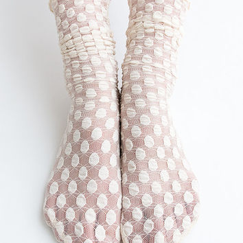 Women New Hezwagarcia Cute Bubble Pop Polka Dot Pattern Mesh Wedding Nylon Loose Socks in Beige