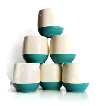 Vacron by Bopp-Decker Plastics Set of 6 Mid Century Modern Aqua/Cream Short Tumblers - (#100.26)