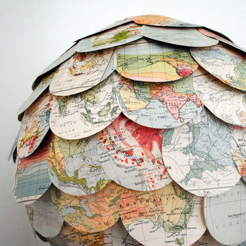 The Geographer's Choice hanging pendant  paper lampshade