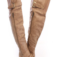 Taupe Thigh High Flat Boots Faux