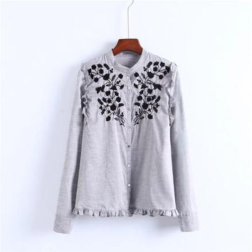 Floral Women  Stand Collar Ruffles OL Shirt Elegant Vintage  Tops