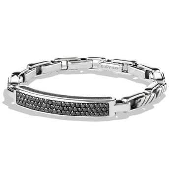 Men's David Yurman 'Modern Cable' ID Bracelet with Black Diamonds