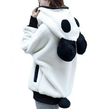 2018 Winter Hooded Cute Kawaii Panda Ears Women Hoodies Bat Sleeve Female Sweatshirt Zip Up Moletom Feminino Cosplay Animal Top
