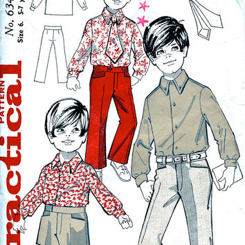 60's  Vintage Sewing Pattern - Boy's / Children's Flared Trousers / Shorts / Shirt / Tie - Practical 6343 - Chest 25""