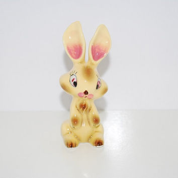 Vintage Napco Yellow Bunny Figurine - 1960's Glossy Ceramic - Japan Numbered - With Label