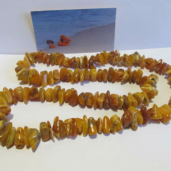 100% Natural #Antique #Baltic #Amber #Necklace, 57.9 grams #brown #yellow egg yolk butterscotch  unpolished  opaque beads  for adult