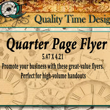 Custom Quarter Page Flyer Personalize with your logo, text, and photos, Full Color one side High Volume Handouts