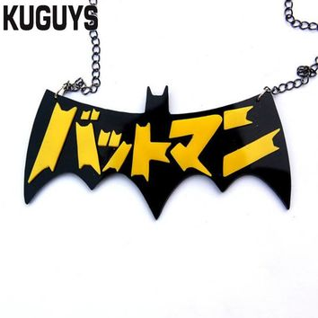 Batman Dark Knight gift Christmas KUGUYS Acrylic Japan Batman Necklace Fashion Jewelry HipHop Pendant Necklaces for Women and Mens Accessories Sweater Chains AT_71_6