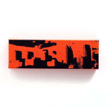 Philadelphia Skyline Canvas (Orange w/ Black Flyers Edition) Screenprint/Painting, Philadelphia Wall Art, Philadelphia Flyers Home Decor