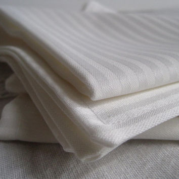 Cloth Napkins- White Christmas Decor- Sateen Stripes Double Sided Napkins- Christmas Table Decorations