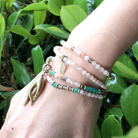 Sunstone and Amazonite Delicate Necklace Wrap Bracelet with Mudra Pendant
