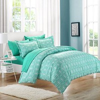 Chic Home Tina Printed Contemporary 3-Piece Duvet Cover Set, King, Turquoise