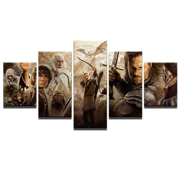 Lord Of The Rings Movie Characters Wall Art Canvas Poster 5 Panel Home Decor
