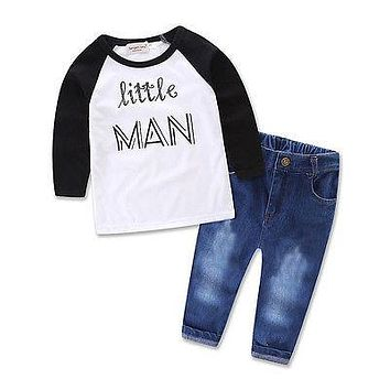 2pcs suit !! Toddler Kids Baby Boy Autumn Outfits Clothes Tops T-shirt+Denim Pants little man Set