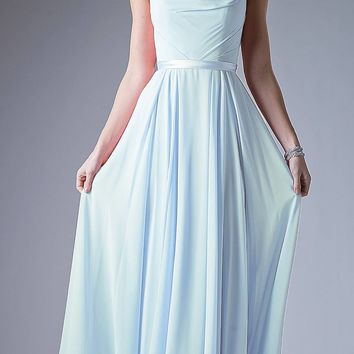 Illusion Cowl Neckline A-Line Long Formal Dress Cut Out Back Sky Blue