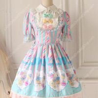 Sweet Party Cotten Lace Prom Short Sleeve Knot OP Lolita Dress