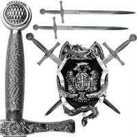 Sword Set with Dragon Display Plaque - 14 inches