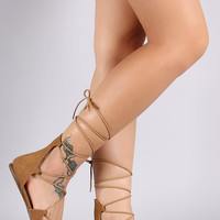 Soda Round Toe Lace Up Ballet Flat
