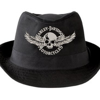 Harley-Davidson Fedora Black Skull Wings Hat Hd-437 Canvas - LG/XL
