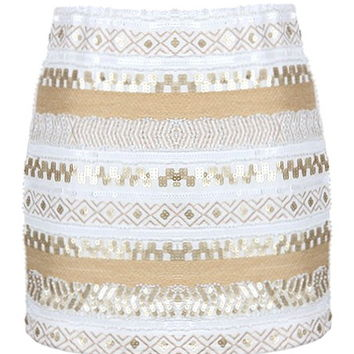 Deco Shimmer Skirt | White Gold Sequin Mini Skirts | Rickety Rack
