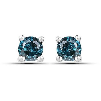 Ethically Mined Natural Blue Diamond Round Cut Stud Earrings