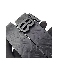 Burberry fashion sells embossed lettering buckle belts for casual men and women #3
