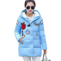 New Plus Size Winter Women Down Cotton Jacket Long Thick Parkas Female Hooded Cotton Padded Fashion Warm Coat Outerwear CE0376