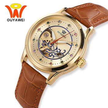 OUYAWEI Brown Leather Automatic Mechanical Skeleton Watch Women Luxury Gold Case Wrist Watches For Fashion Ladies Girls