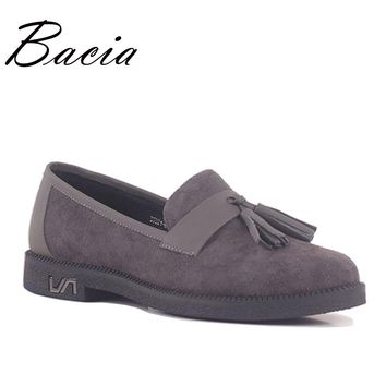 Bacia Sheepskin Shoes Woman 2017 Genuine Leather Women Shoes Flats 3 Colors Loafers Slip On Women's Fringe Flat Moccasins SB047