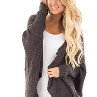 Charcoal Knit Cardigan with Dolman Sleeves and Pockets