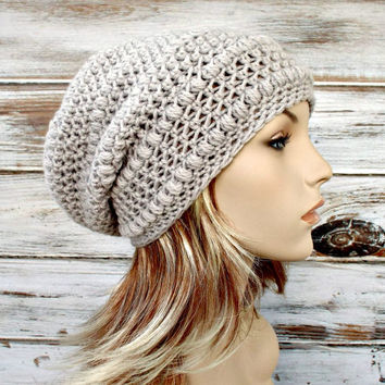 4948265be6f03b Crocheted Hat Womens Hat - Penelope Puff Stitch Slouchy Beanie H