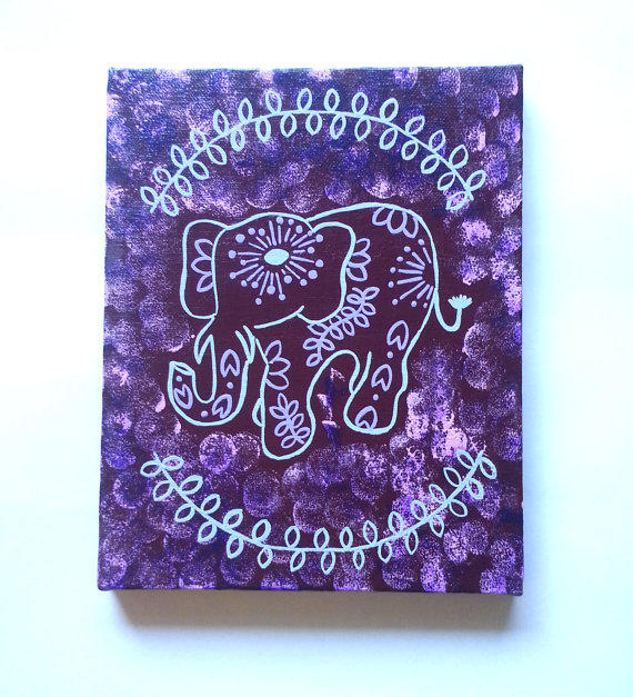 Hippie Bohemian Elephant fashionable from StarrJoy16 on Etsy ~ 062437_Dorm Room Canvas Ideas