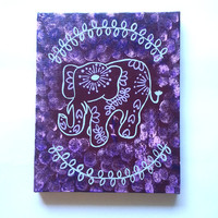 Hippie Bohemian Elephant fashionable acrylic canvas painting for trendy girls room, dorm room, or home decor