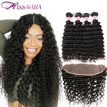 Miss Cara Malaysian Deep Wave Bundles With Frontal 100% Human Hair 3/4 Bundles With Closure Remy Hair Lace Frontal With Bundles