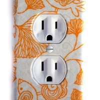 Mod Orange Birds & Ginkgo Leaves Outlet Plate
