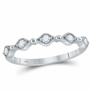 10kt White Gold Women's Round Diamond Stackable Band Ring 1/8 Cttw