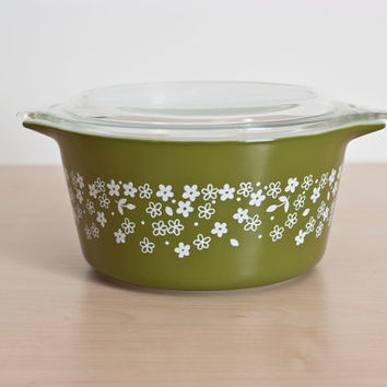 Pyrex Spring Blossom Style 2 Deep Green Casserole with Lid, Pyrex Glass Storage Container, 473-B