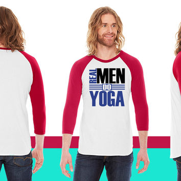 Real men do Yoga American Apparel Unisex 3/4 Sleeve T-Shirt