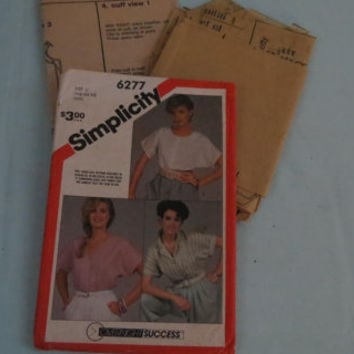 Vintage Simplicity sewing pattern 6277 made 1983 women's loose fitting tops 12 pieces