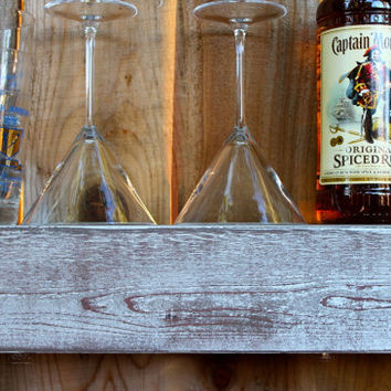 Home Decor - 24 Inches - Wet Bar Shelf - Reclaimed Wood - Whitewashed Gray - Floating - Wall Hanging - Farmhouse Chic - Shelves
