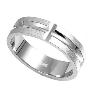 925 Sterling Silver Cross 5MM Ring