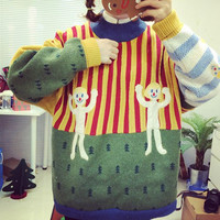 Stand Collar Long Sleeve Cartoon Pattern Sweater